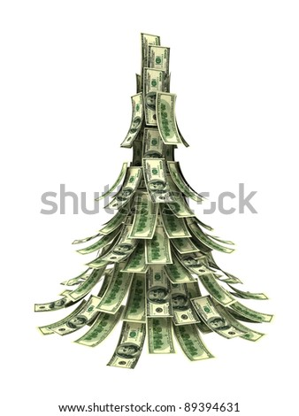 Dollars banknotes made as Christmas tree on white background - stock photo