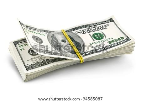 dollars batch falling isolated on white background - stock photo