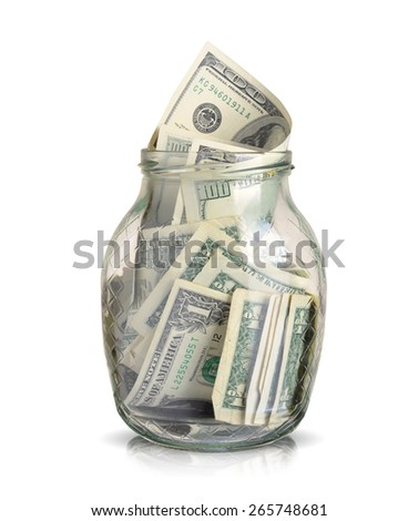 dollars bills in a glass jar isolated on white background - stock photo