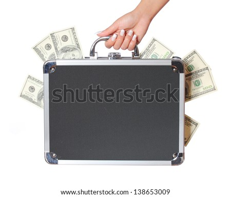 dollars bills in case in female hand isolated on white, money in suitcase - stock photo