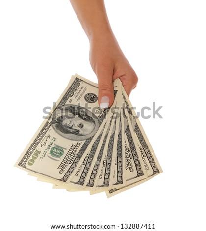 dollars bills in hand isolated on white, money - stock photo