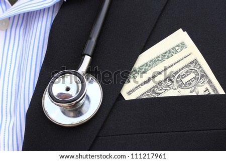 dollars bills in his pocket - stock photo