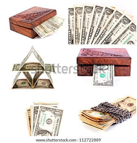 Dollars bills isolated in collage - stock photo