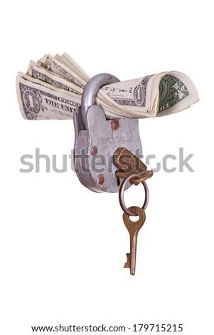 dollars captured with padlock - stock photo