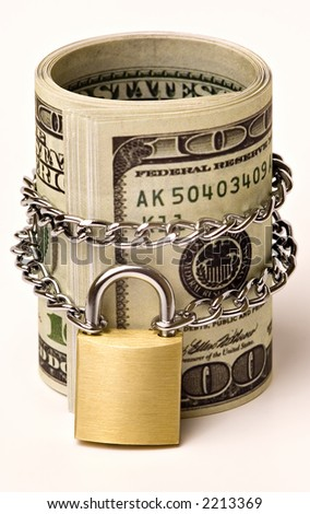 Dollars, Chained and Locked - isolated  on white background, it is a symbol of security that can be given to somebody's money :) - stock photo