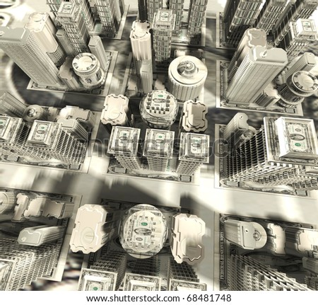 Dollars city. 3D illustration - stock photo