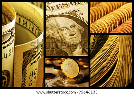 Dollars collage. Macro image set. - stock photo