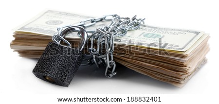 Dollars currency with lock and chain isolated on white