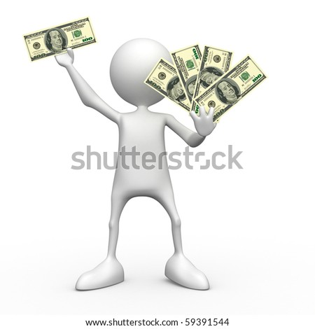 Dollars.  3d image isolated on white background.