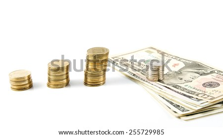 Dollars different bills and coins of different denominations Israeli bank. - stock photo