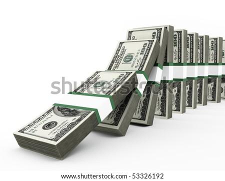 dollars domino - stock photo