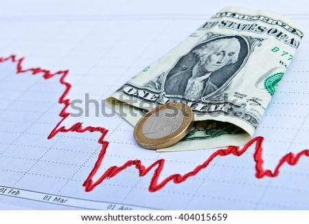 Dollars drawn chart. Business concept. Toned image - stock photo