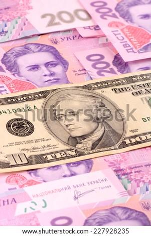 dollars euro hryvnia banknotes background - stock photo