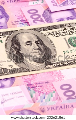 dollars euro hryvnia banknotes background, close up - stock photo