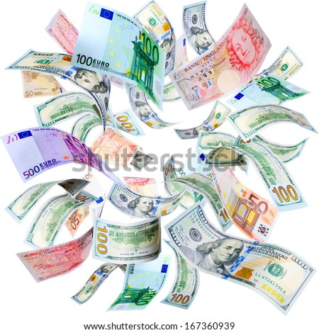 Dollars, Euros and Pounds falling and spinning isolated on white - stock photo