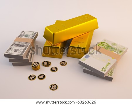 Dollars, Euros, Coins and Gold bars - stock photo