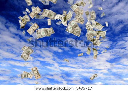 dollars falling from the sky - stock photo