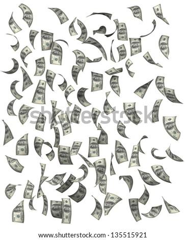 Dollars falling, isolated on white background - stock photo