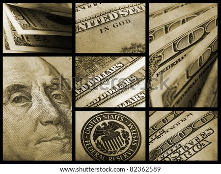 Dollars. Finance collage. - stock photo