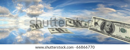 Dollars floating across sky over water into the distance. Money or bank notes flying. Financial concept of windfall or lose money or loose spending - stock photo