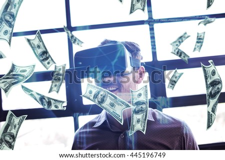 Dollars flying against businessman using virtual reality device