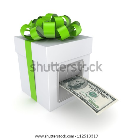 Dollars from a gift box.Isolated on white background.3d rendered. - stock photo