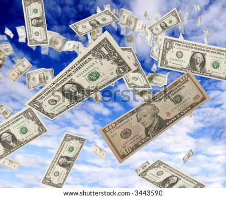 Dollars from the sky - stock photo