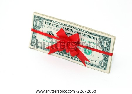 dollars gift banknotes present with red ribbon and bow isolated