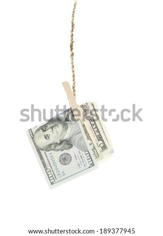 dollars hang on rope - stock photo