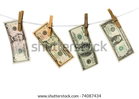 Dollars hanging from a rope on a white background isolated. Conceptual image. - stock photo