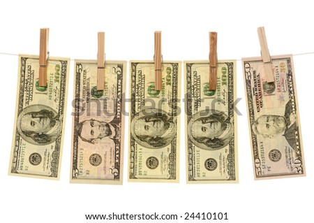 Dollars hanging on a clothesline isolated on white background - stock photo