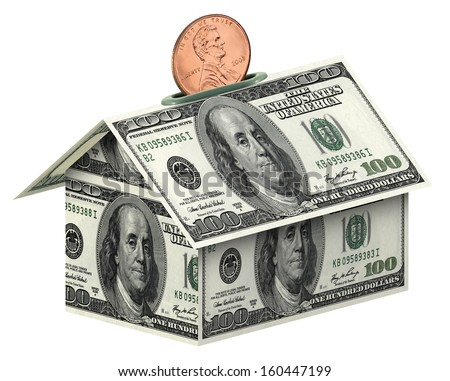 Dollars house  on white background  the concept of accumulation money  isolated on white with clipping path - stock photo
