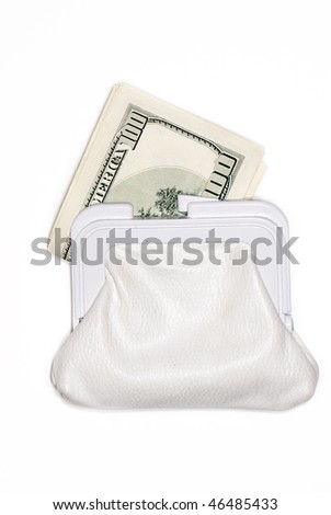 Dollars in a bag on a light background - stock photo