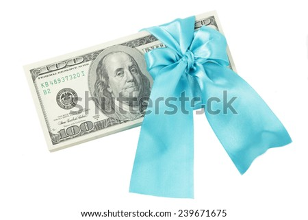 Dollars in a blue ribbon - stock photo
