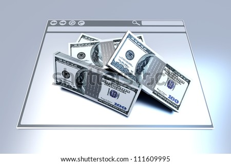 Dollars in a Browser window. 3D rendered illustration. - stock photo