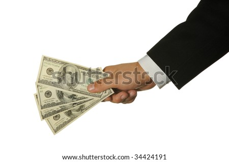 Dollars in a hand of the businessman