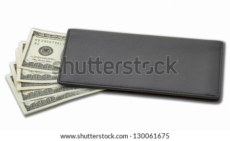 Dollars in a purse isolated on white
