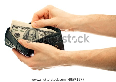 Dollars in black leather wallet isolated on white background - stock photo