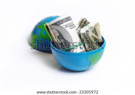 dollars in box - stock photo