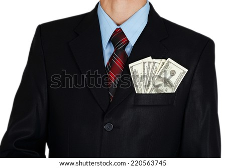 Dollars in businessman suit pocket on white background