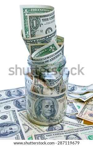 Dollars in glass jar.  Keep the money in the bank. The quality of medium format - stock photo