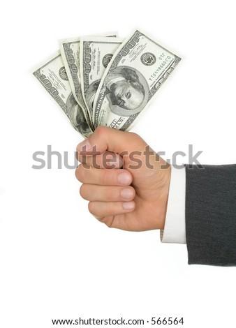 Dollars in hand - stock photo