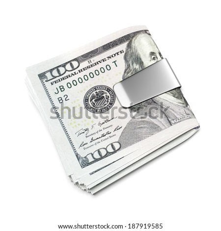 Dollars in money clip - stock photo