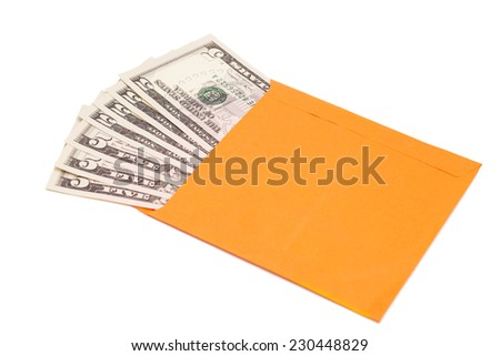 dollars in open envelope isolated on white  - stock photo