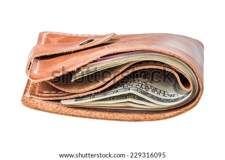 Dollars in purse isolated on white background - stock photo
