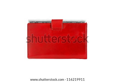 Dollars in red leather purse isolated on white background - stock photo