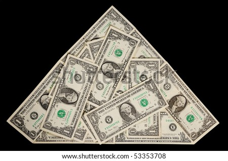 Dollars in shape of pyramid