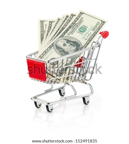 Dollars in Shopping Cart Isolated On White