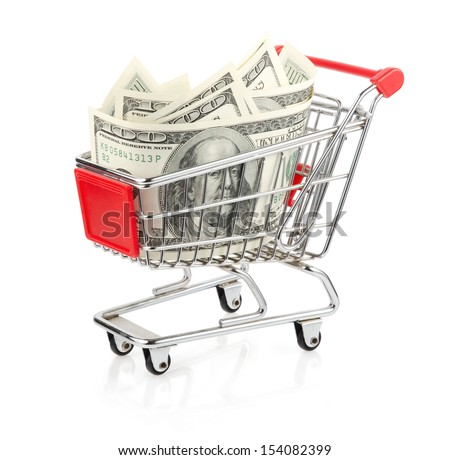 Dollars in Shopping Cart Isolated On White Background - stock photo