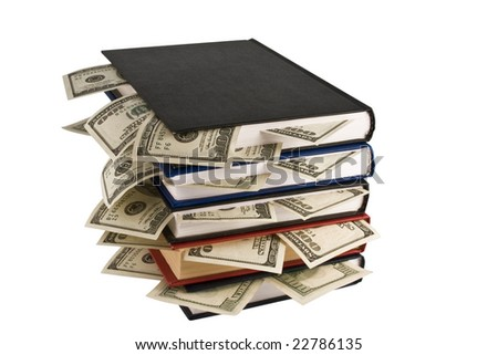 Dollars in the books, isolated on white background, business training. - stock photo
